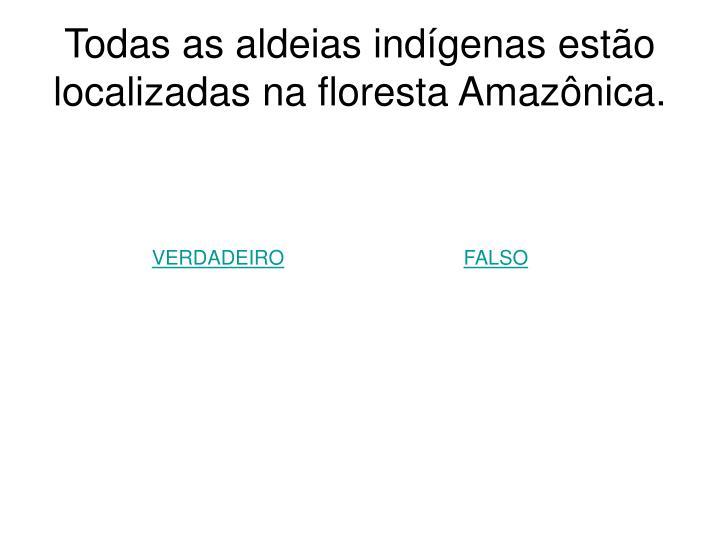 Todas as aldeias indígenas estão localizadas na floresta Amazônica.