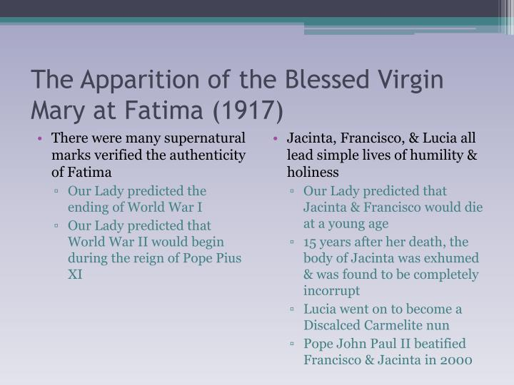 The Apparition of the Blessed Virgin Mary at Fatima (1917)