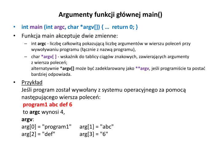 Argumenty funkcji głównej main()