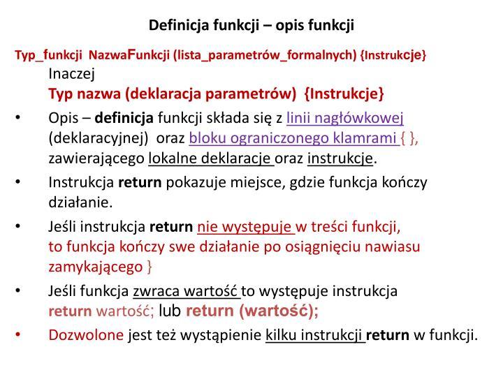 Definicja funkcji – opis funkcji