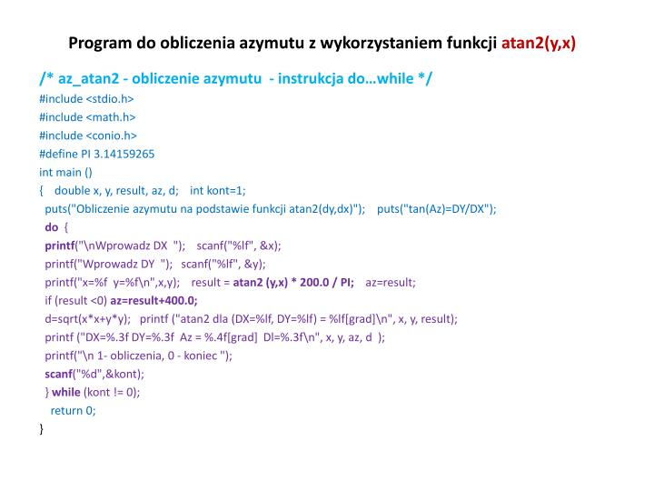 Program do obliczenia azymutu z wykorzystaniem funkcji