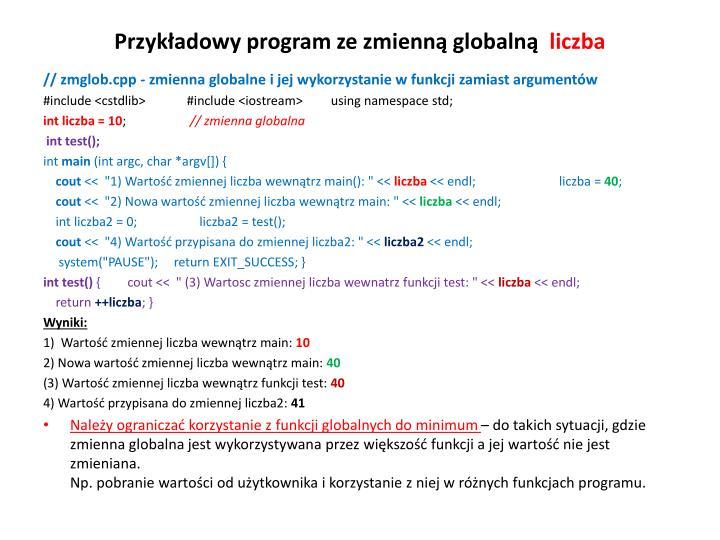Przykładowy program ze zmienną globalną