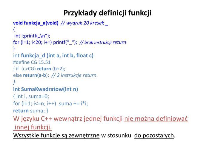 Przykłady definicji funkcji