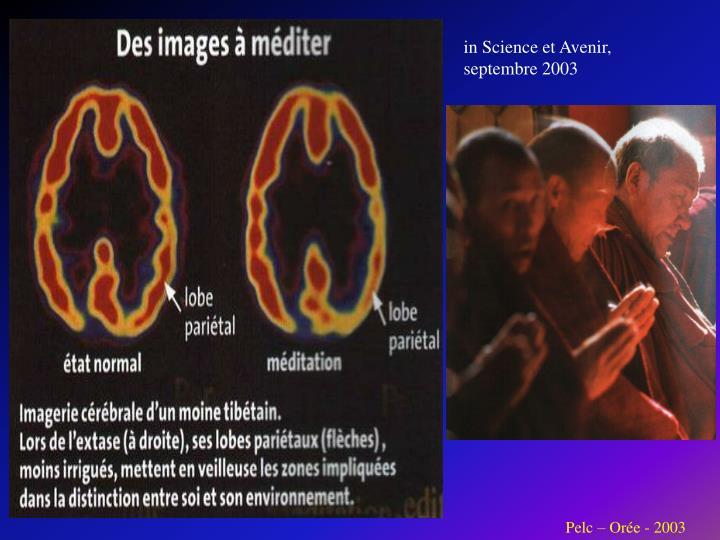 in Science et Avenir, septembre 2003