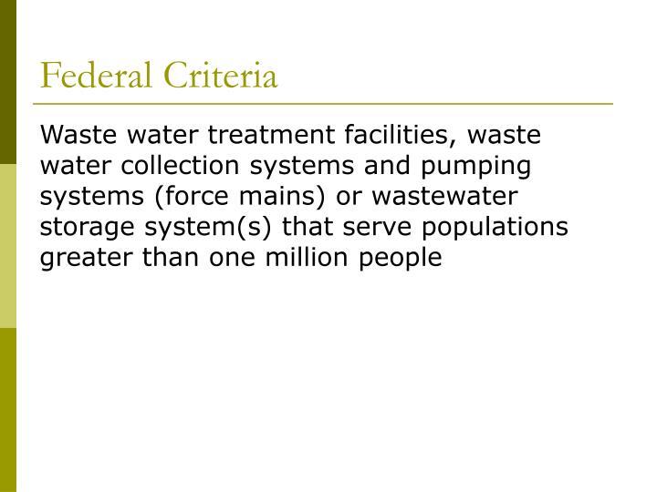 Federal Criteria