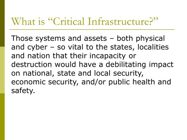 What is critical infrastructure