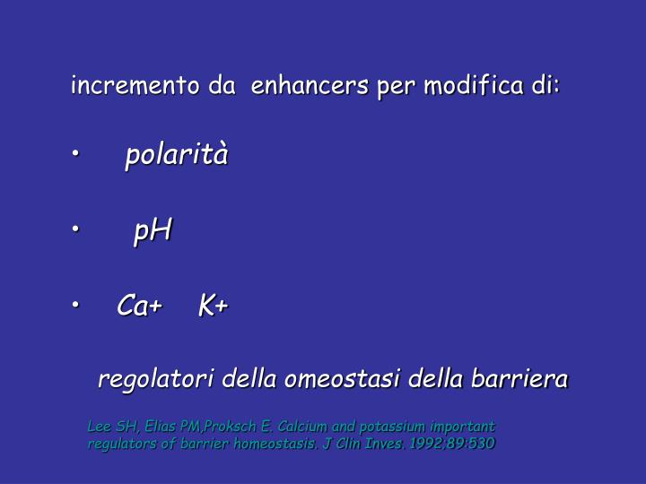 incremento da  enhancers per modifica di: