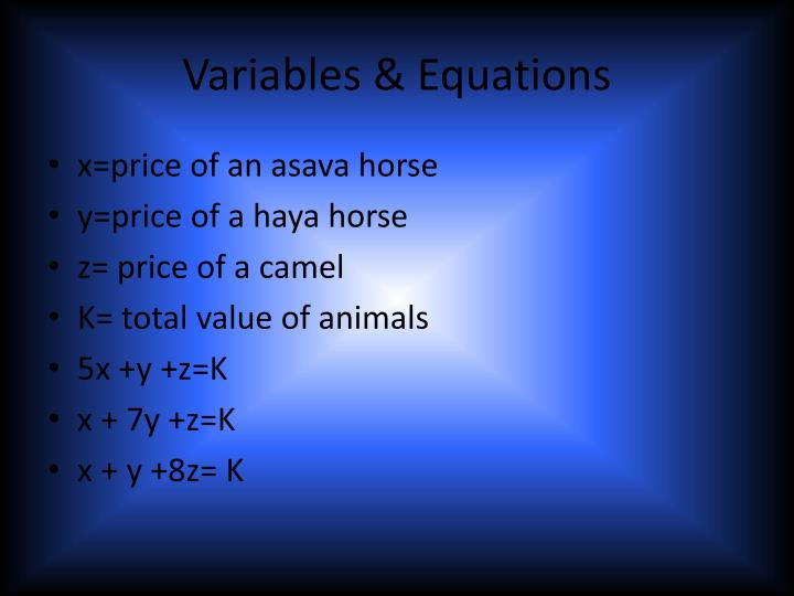 Variables & Equations
