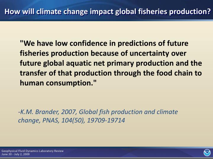 How will climate change impact global fisheries production?