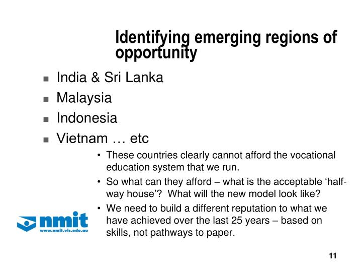 Identifying emerging regions of opportunity