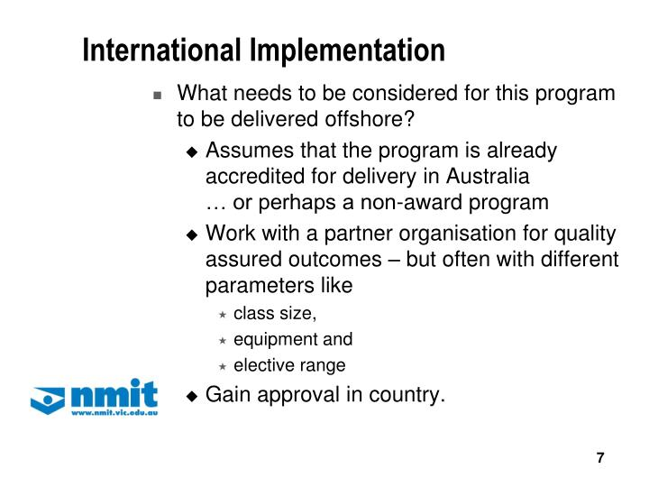 International Implementation