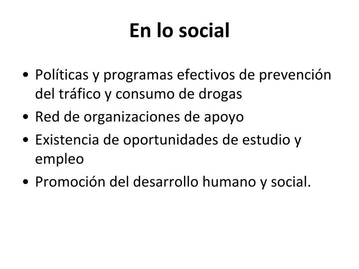 En lo social
