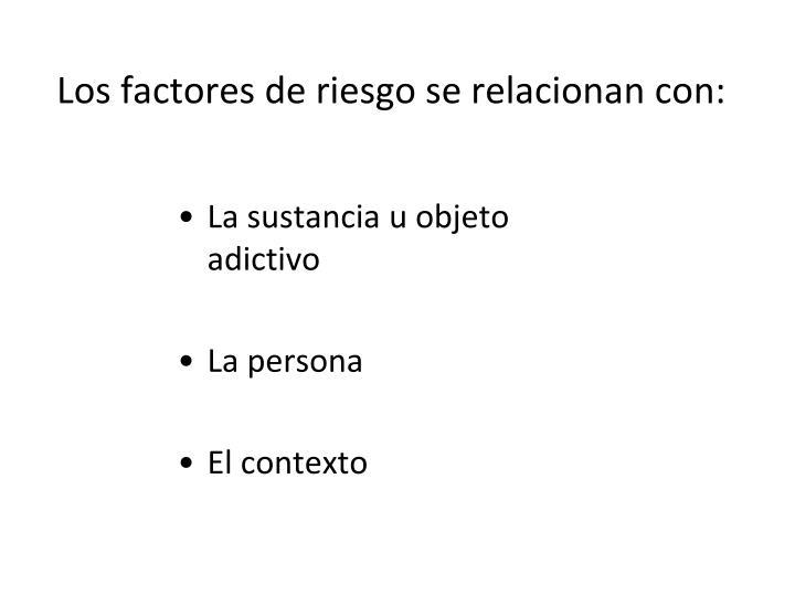 Los factores de riesgo se relacionan con: