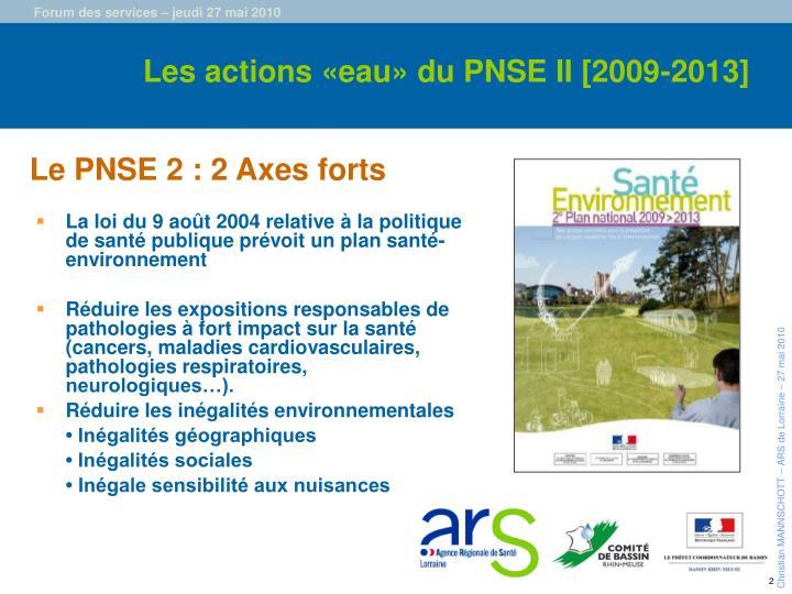 Les actions «eau» du PNSE II [2009-2013]