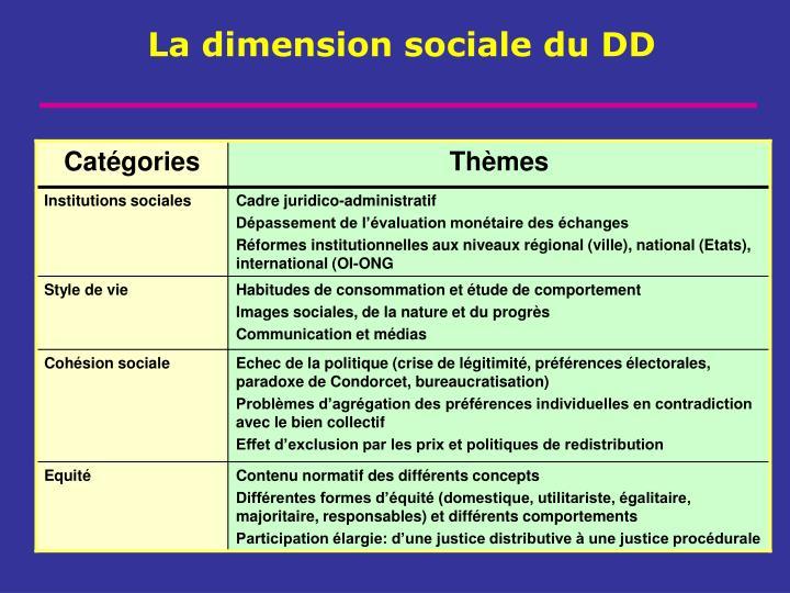 La dimension sociale du DD