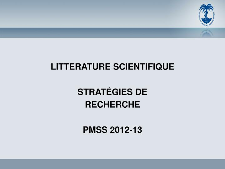 LITTERATURE SCIENTIFIQUE