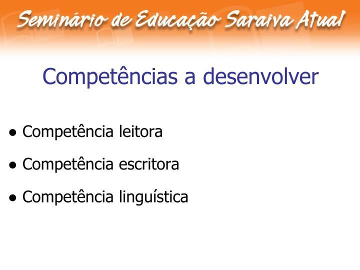 Competências a desenvolver