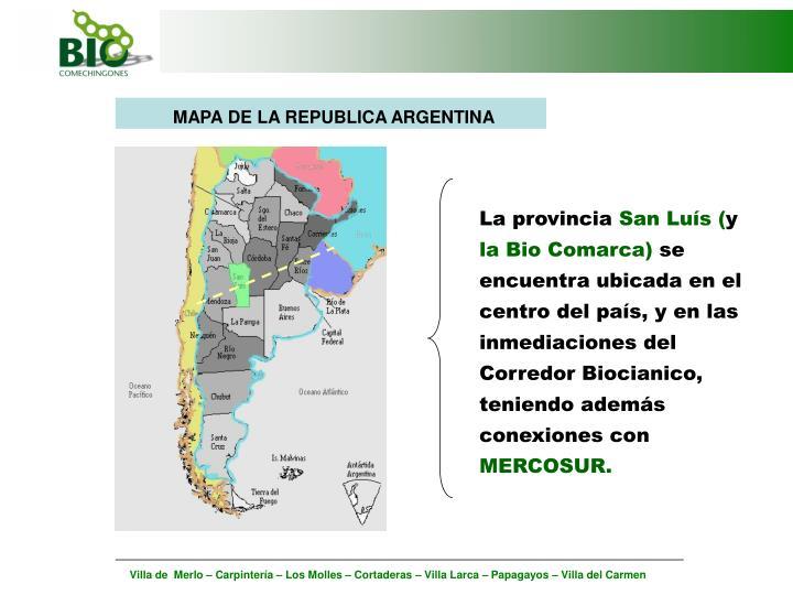 MAPA DE LA REPUBLICA ARGENTINA