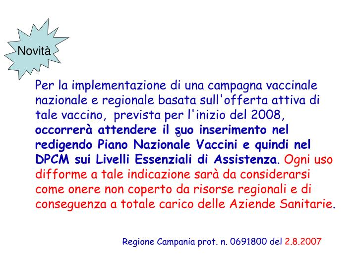 Regione Campania prot. n. 0691800 del