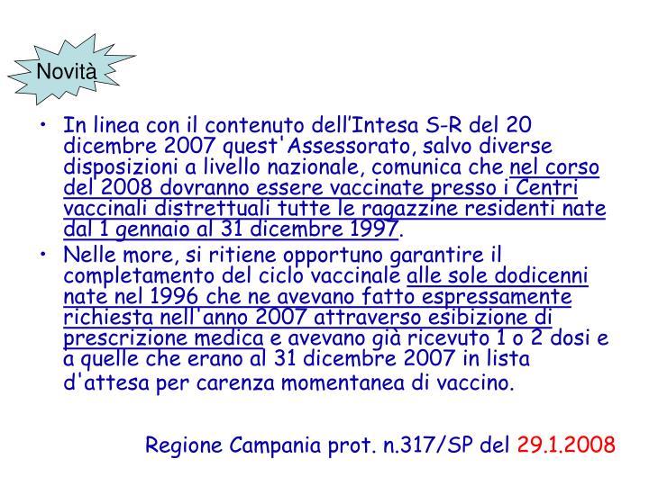 Regione Campania prot. n.317/SP del