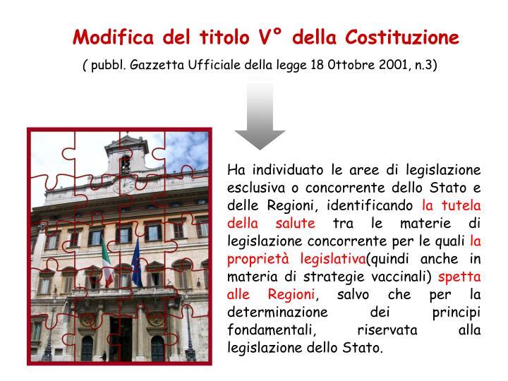 Modifica del titolo V della Costituzione
