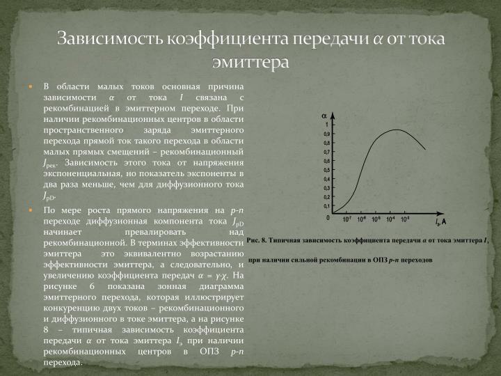Зависимость коэффициента передачи