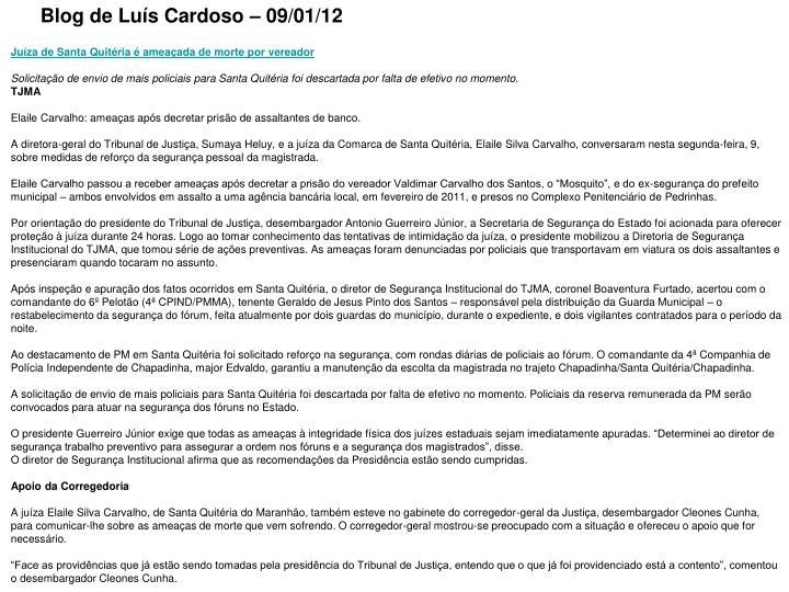 Blog de Luís Cardoso – 09/01/12