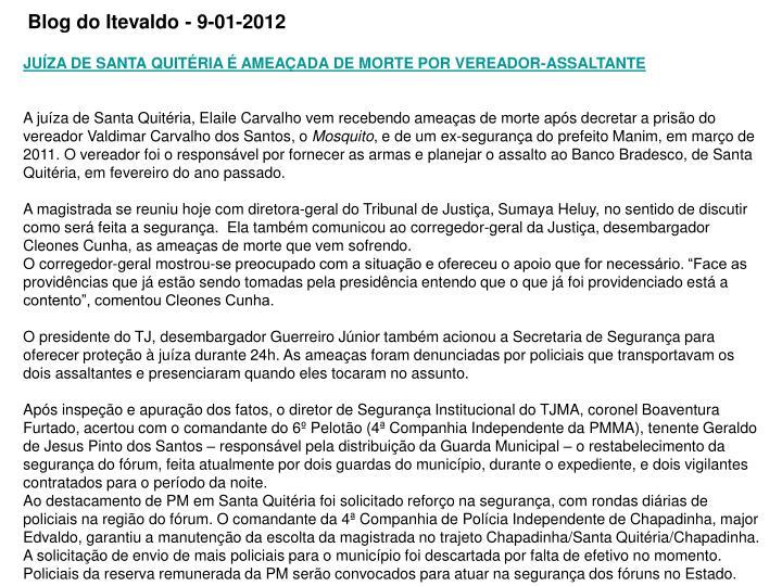 Blog do Itevaldo - 9-01-2012
