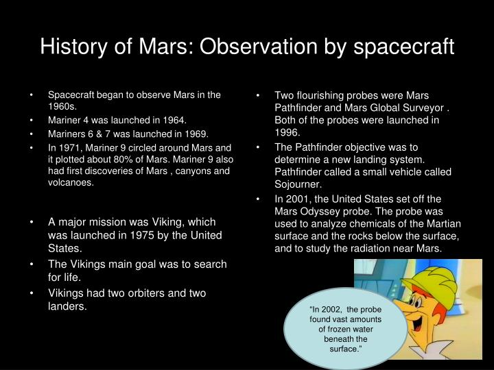 History of Mars: Observation by spacecraft