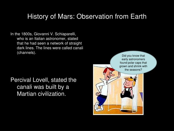 History of Mars: Observation from Earth