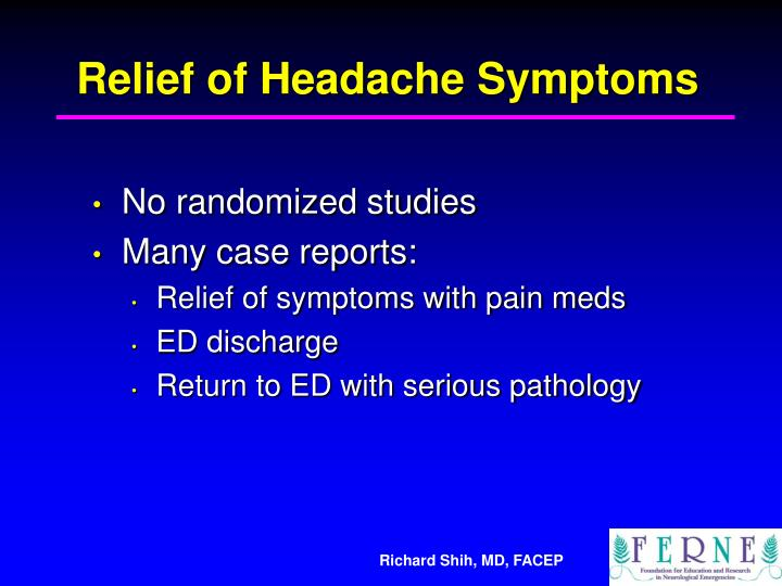 Relief of Headache Symptoms