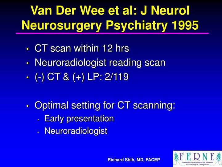 Van Der Wee et al: J Neurol Neurosurgery Psychiatry 1995