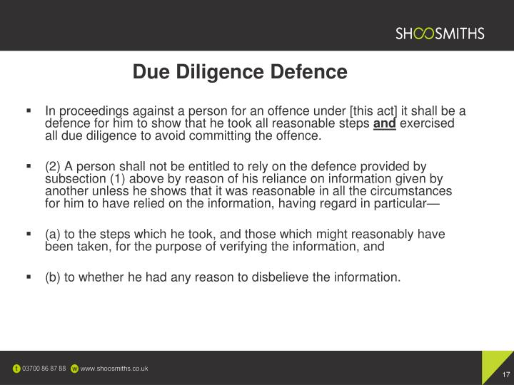 Due Diligence Defence