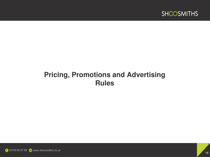 Pricing, Promotions and Advertising Rules