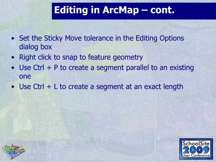 Editing in ArcMap – cont.