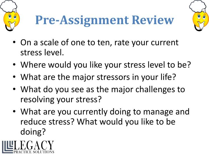 Pre assignment review