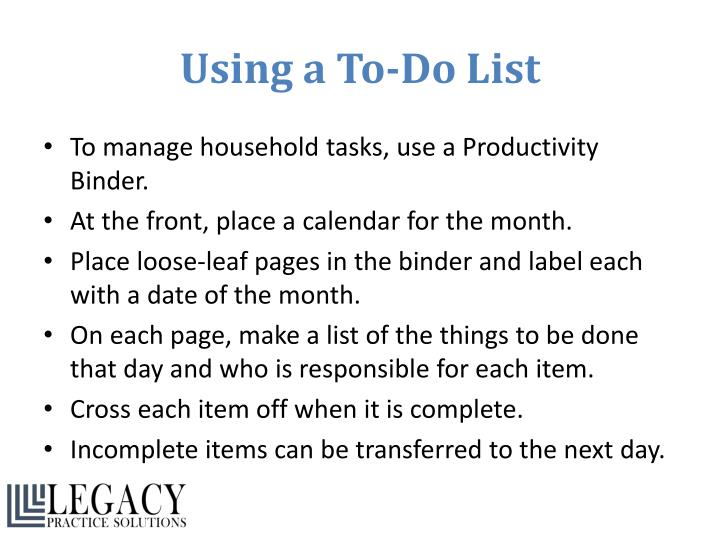 Using a To-Do List