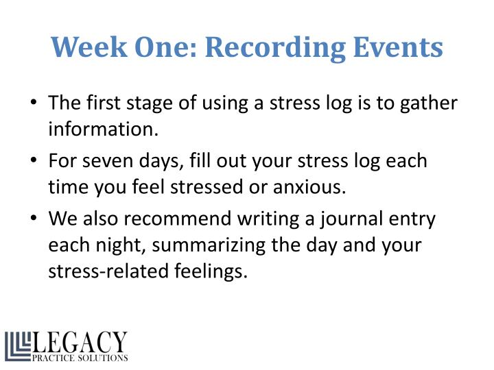 Week One: Recording Events
