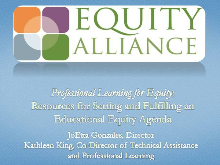 Professional Learning for Equity