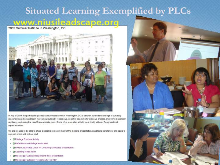 Situated Learning Exemplified by PLCs