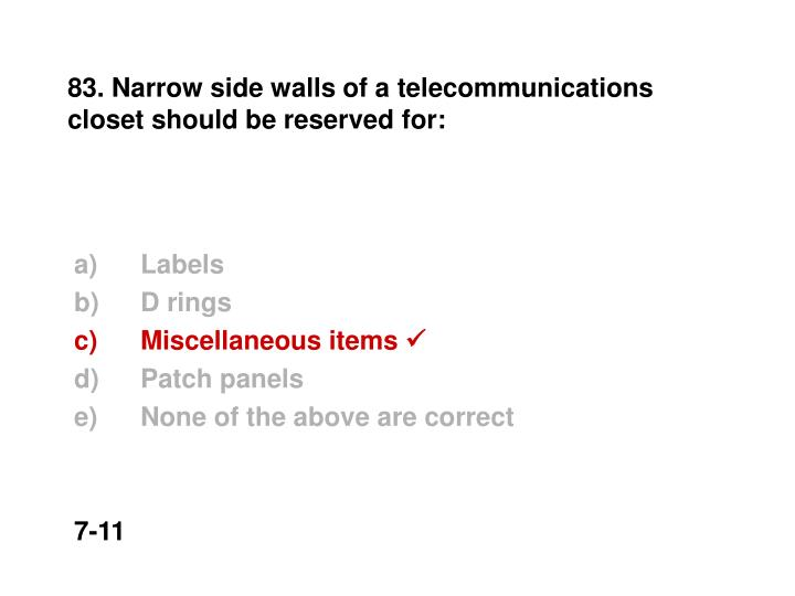 83. Narrow side walls of a telecommunications closet should be reserved for: