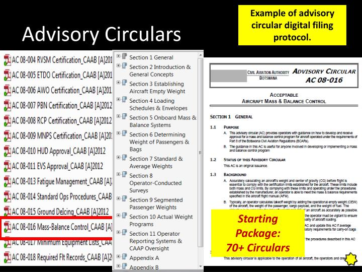 Example of advisory circular digital filing protocol.