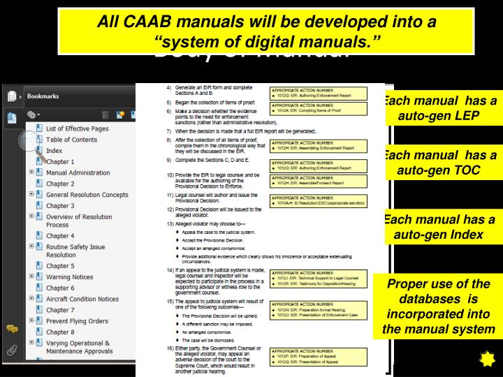 "All CAAB manuals will be developed into a ""system of digital manuals."""