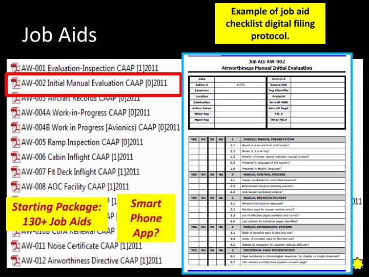 Example of job aid checklist digital filing protocol.
