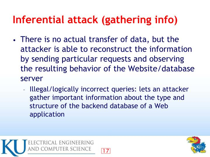 Inferential attack (gathering info)
