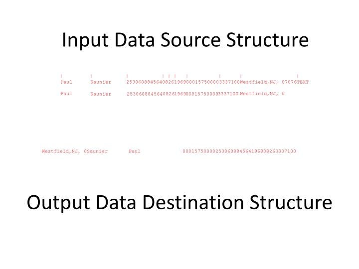 Output Data Destination Structure