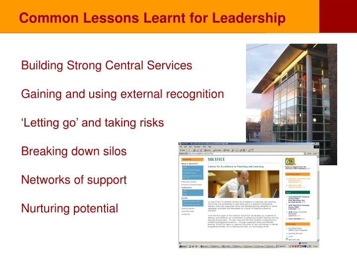 Common Lessons Learnt for Leadership