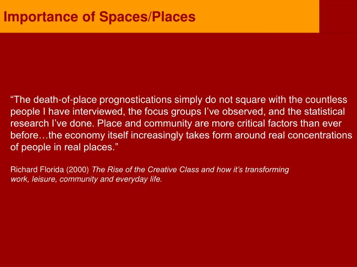 Importance of Spaces/Places