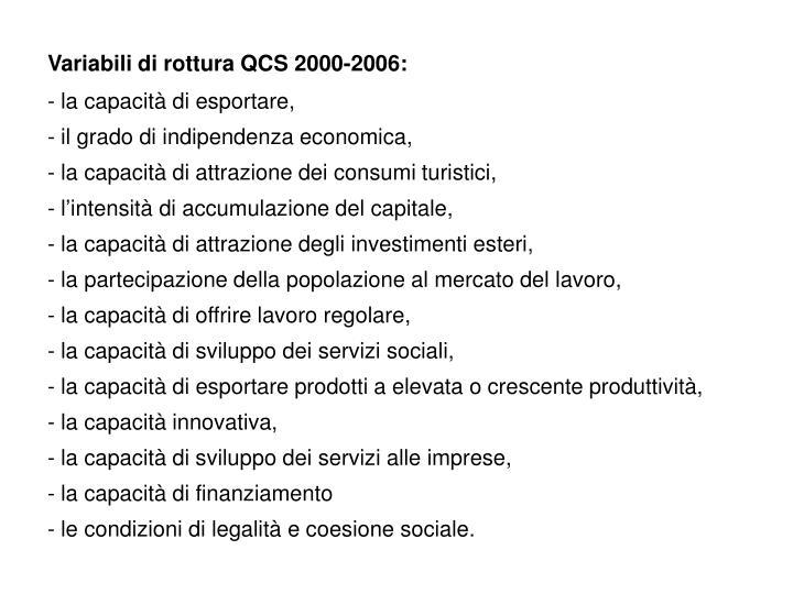 Variabili di rottura QCS 2000-2006: