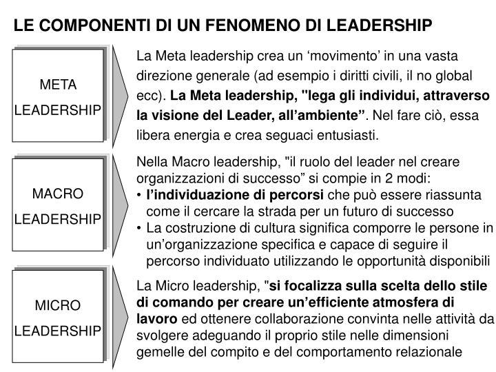 LE COMPONENTI DI UN FENOMENO DI LEADERSHIP